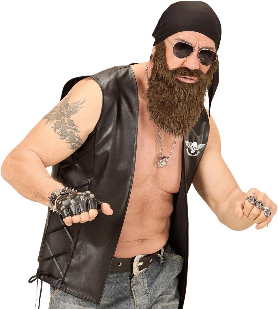 Amakando Outlaw Stirnband und Bart Biker Outfit mit Bandana Easy Rider Faschingsbart Vollbart mit Kopftuch Gangster Herren Kleidung Rocker Kost/üm Set