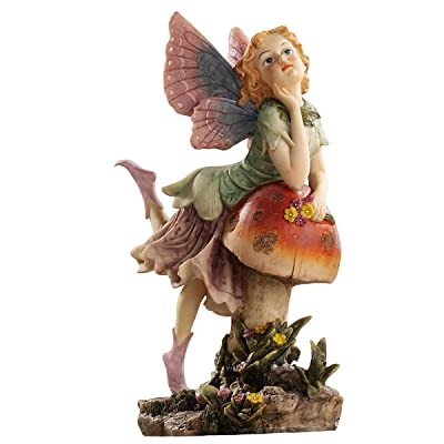 Design Toscano EU4932 The Fairy Dust Garden Mushroom Statue Collection, Twin, full color : Outdoor Statues : Garden & Outdoor