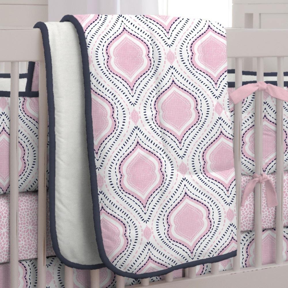 Carousel Designs Pink and Navy Moroccan Damask Crib Comforter