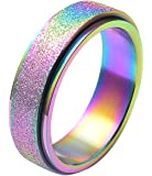 ALEXTINA Men's Women's 6MM 8MM Fashion Stainless Steel Spinner Ring Sand Blast Finish / High Polished Finish