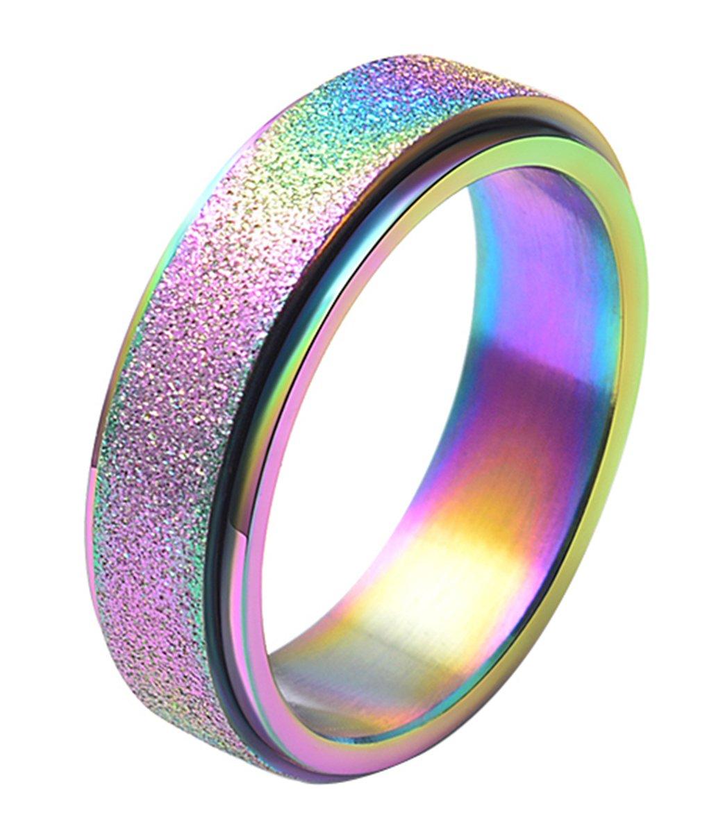 ALEXTINA Women's 6mm Stainless Steel Ring Spinner Band Sand Blast Finish Rainbow size 11