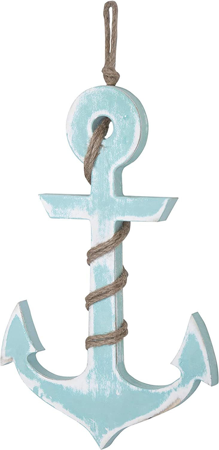 MyGift 18-inch Aqua Blue Nautical Wood Anchor Wall Decor
