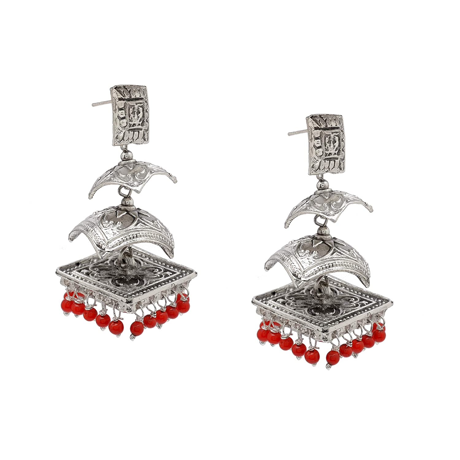 Zephyrr Afghani//Turkish Drop Earrings Silver Tone Casual Daily Wear Statement Jewelry For Women JAE-3431 Red