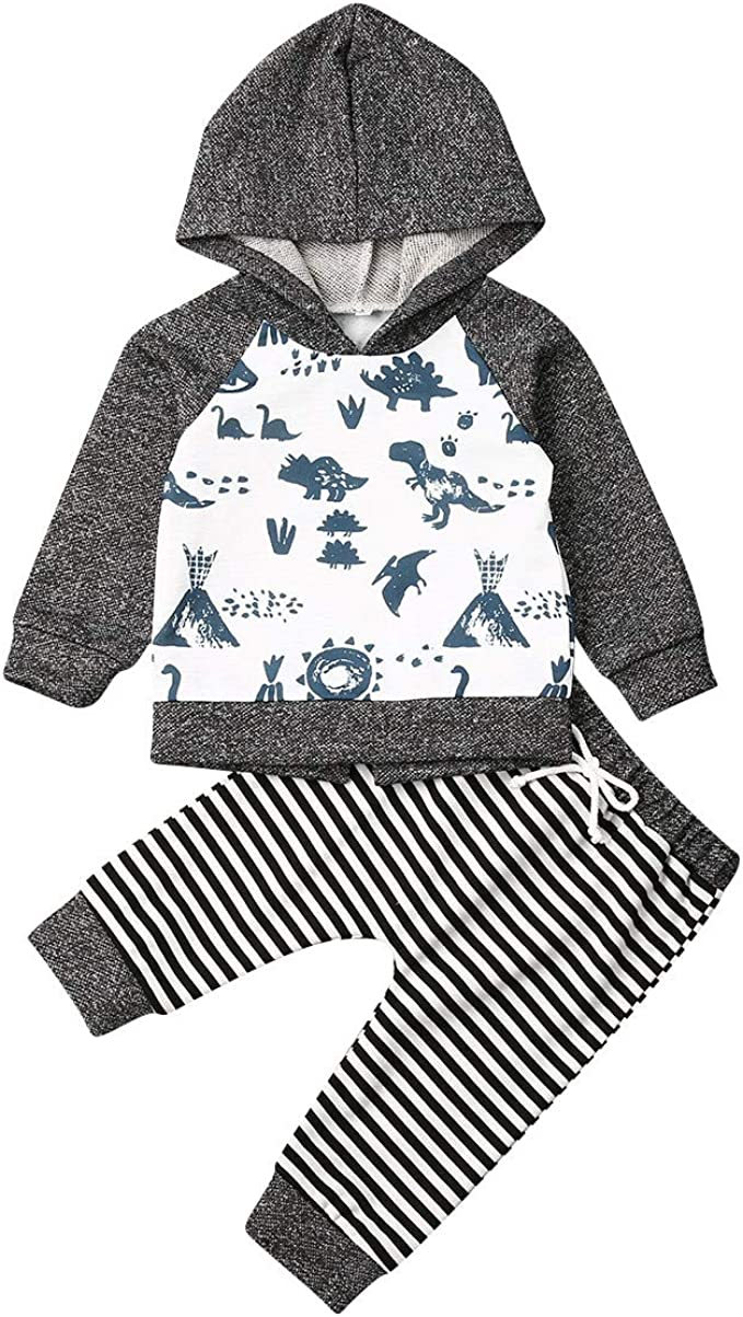 2pcs Newborn Kids Floral Hoodie Tops Pants Baby Boys Girls Winter Thermal Outfit