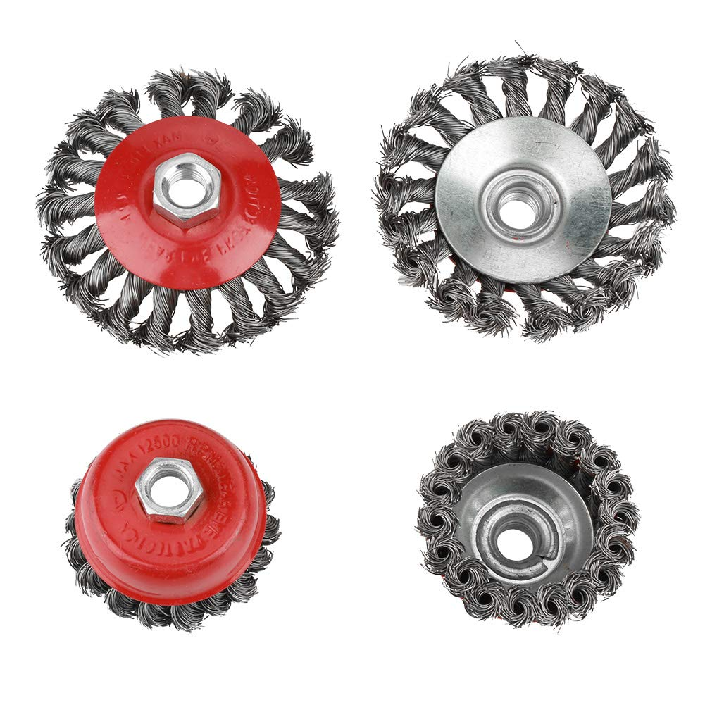Rotary Twist Knot Flat Cup Steel Wire Wheel Brush Set for Angle Grinder Rust Paint Removal Wire Cup Brush 4Pcs