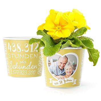 Facepot Goldene Hochzeit Geschenk Blumentopf O16cm Deko Zum 50