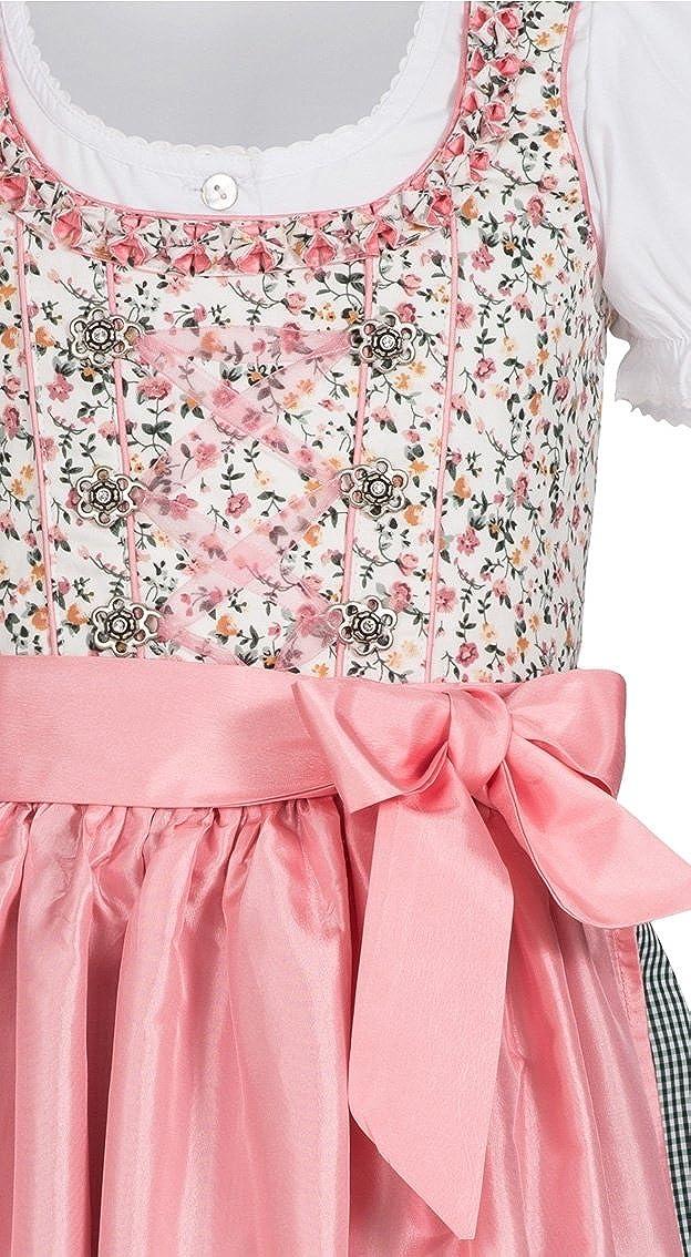 Blumen-Muster N/übler Kinderdirndl 3-TLG Gr 104-158 Nina Wei/ß-Rosa Karierter Rock R/üschen