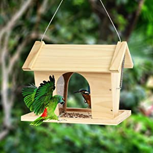 Wild Bird Feeder for Outdoor, Large Hanging or Standing Wooden Bird House Feeders 13''inch with Drain Holes for Outside Ranch Patio Yard Tree Hanging