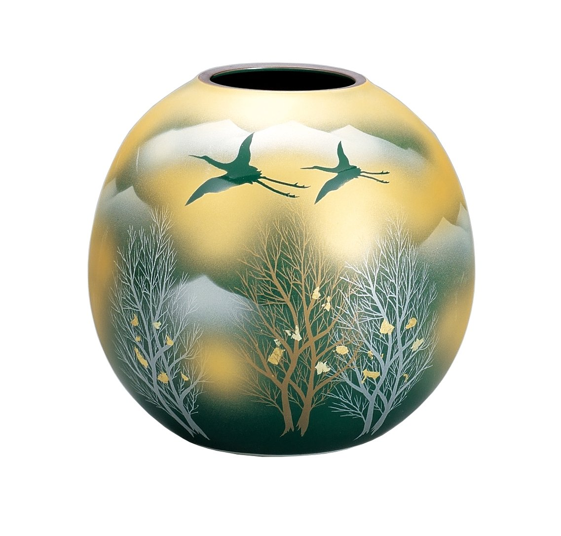 マルサン宮本 九谷焼 花器 5.5号花瓶 金雲木立連山 AP3-1036 B01HXQJWPC