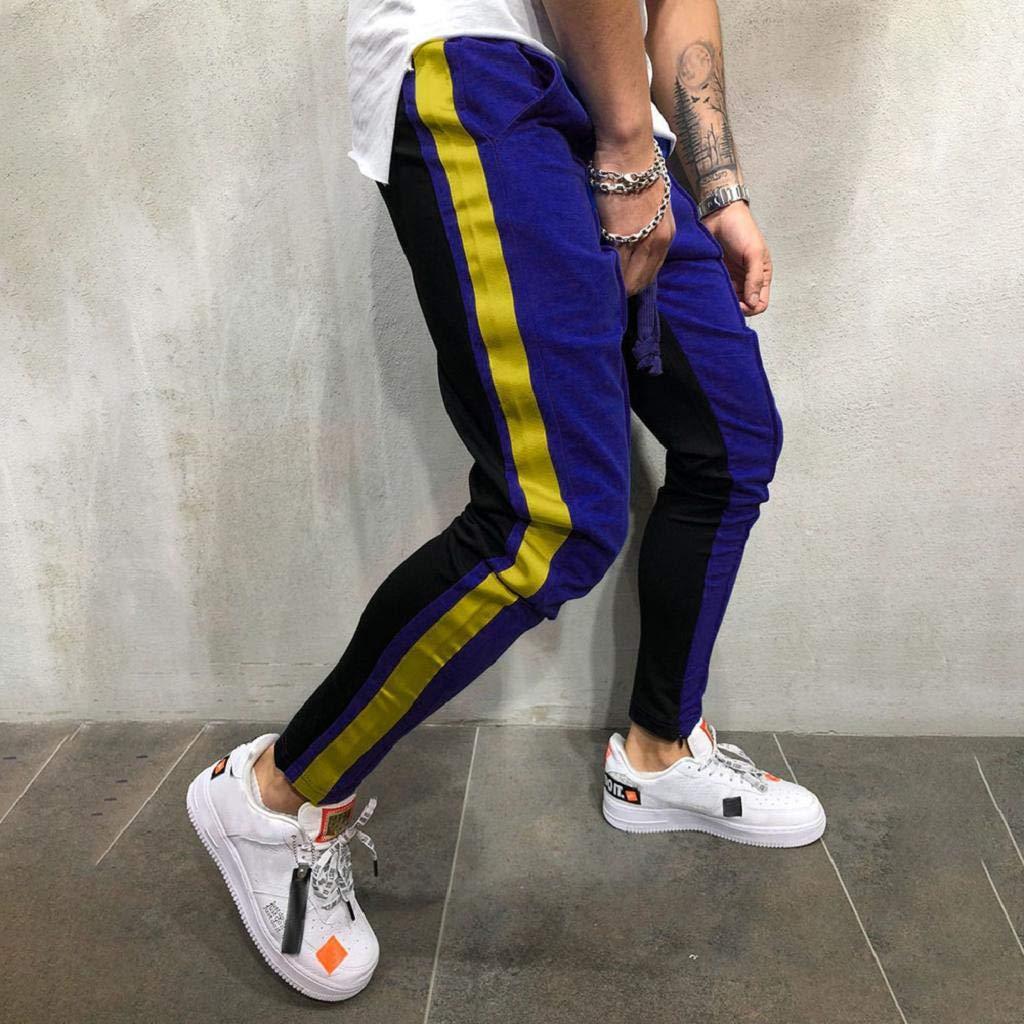 QUICKLYLY Pantalones Vaqueros Hombre Pitillo Rotos Chandals Trekking Skinny,Moda Hombre Casual S/ólido Suelto Patchwork Color Sweatpant Pantalones Jogger Pant