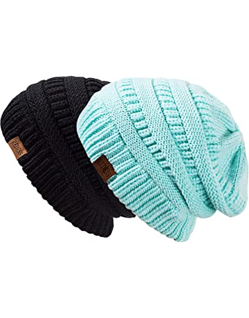 d6a4db2e798 REDESS Slouchy Beanie Hat Men Women 2 Pack Winter Warm Chunky Soft  Oversized Cable Knit Cap