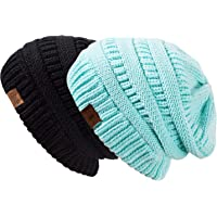REDESS Slouchy Beanie Hat Men Women 2 Pack Winter Warm Chunky Soft  Oversized Cable Knit Cap 96476f3ce377