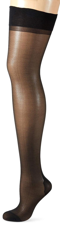 Cottelli Collection Stockings & Hosiery - transparente Strapsstrümpfe für Frauen, verführerische Strümpfe mit Hochferse und Naht, schwarz 02316570000