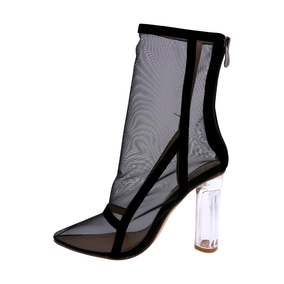 970ff453b7d4d Amazon.com | CAPE ROBBIN - Women Mesh Pointy with Clear Heel Bootie ...