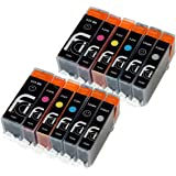 12 Canon Compatible CLI526, PGI525, Printer Ink Cartridges - NEW WITH CHIP Installed No Fuss - Multpack, Set of 12 Canon Compatible Printer Inks Cartridge For Canon Pixma (Contains: 2x 525BK Large Black, 2x 526C Cyan, 2x 526M Magenta, 2x 526Y Yellow, 2x 526BK Small Black 2x 526GY Grey) for Canon Pixma MG6150, MG6220, MG6250, MG8150, MG8220, MG8250 Double Capacity Inks