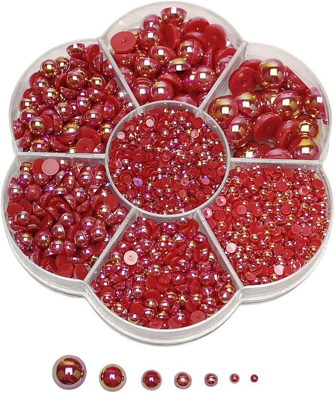 Chenkou Craft 3000PCS 1 Box Red Round Flatback Imitation Half Pearls Bead Loose Beads Gem (Red Half Ball)