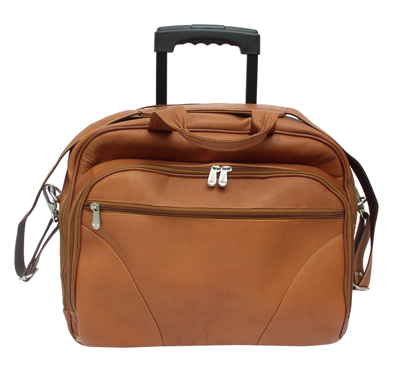 Piel leather Rolling Laptop Briefcase, Office on Wheels Case in Saddle by Piel Leather