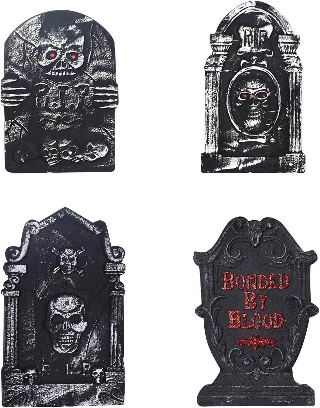semen Pack de 4 Decoraciones de Halloween para casa embrujada de Espuma Ligera Tombstone gótico jardín Graveyard Estatua, Negro, 4 Piezas: Amazon.es: Hogar
