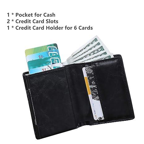 sciuU Cartera de Cuero de PU, Bloqueo RFID, Cartera con Tarjeta de Crédito (Que Puede Contener 6 Tarjetas), Bolsillo de Efectivo + 2 Ranuras para ...
