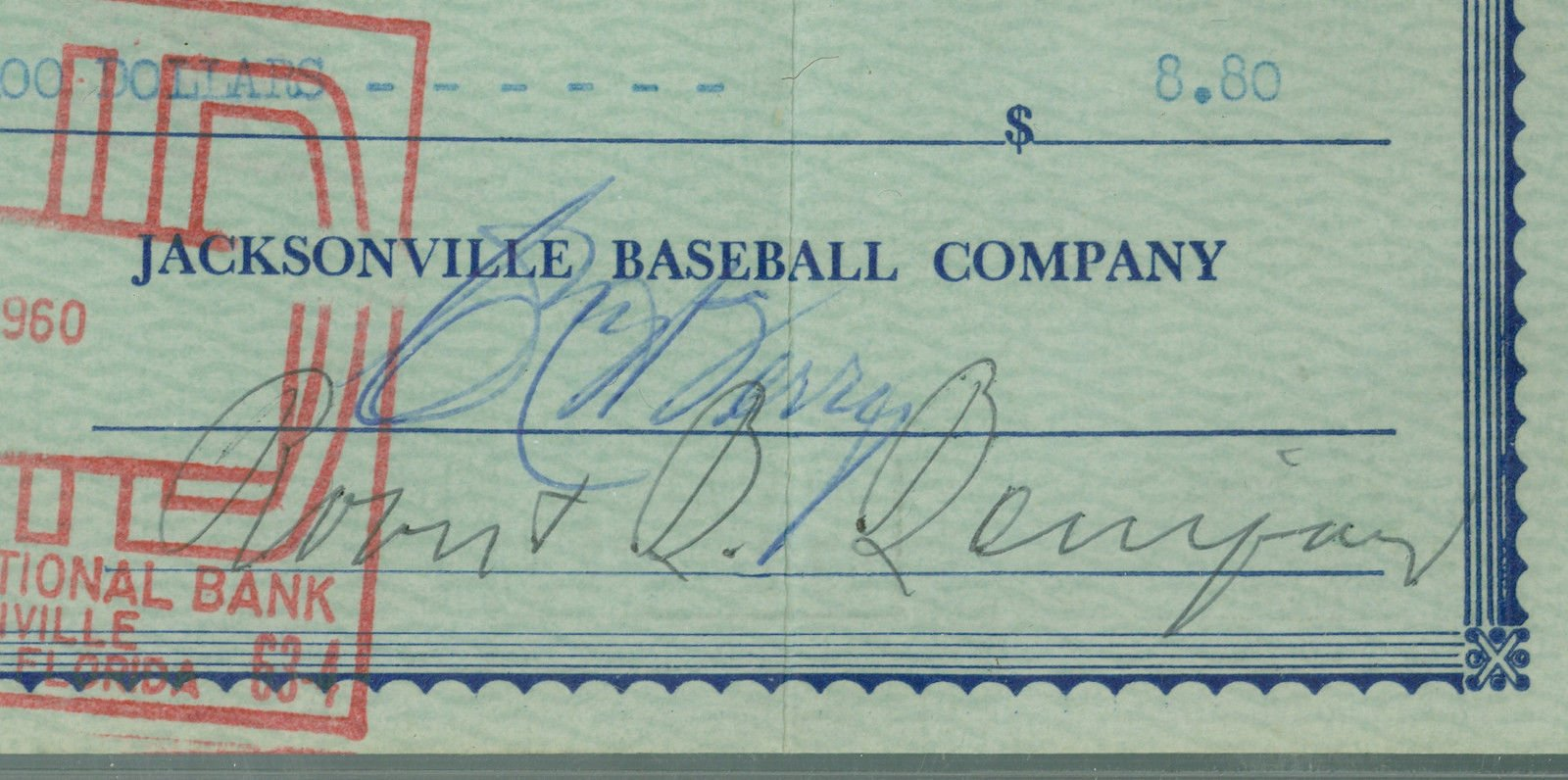William Bill Terry Autographed Signed 1960 Payroll Check PSA/DNA Slabbed 5X12