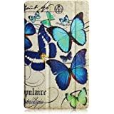 Amazon Fire HD 8 leather Case,Fire HD 8 Tablet Case 2016,Premium PU Leather Smart Case and Back Cover Flip Folio Case for Kindle Fire HD 8 Cover (2016 release),Blue butterfly …