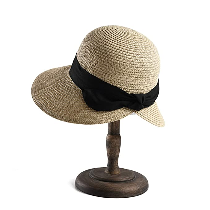 bd41b45c16d47e Womens Hats and Caps Camel Wide Brim Straw Hat Lady Bowknot Casual Sun Cap  Uv Vintage Travel Spring Summer Hat at Amazon Women's Clothing store: