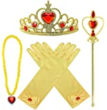 Princess Dress up Accessories 4 Gifts Set Gold Gloves Tiara Crown Necklace Wand