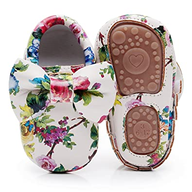 d4b690aa405 HONGTEYA Baby Moccasins with Rubber Sole - Flower Print PU Leather Tassel  Bow Girls Ballet Dress
