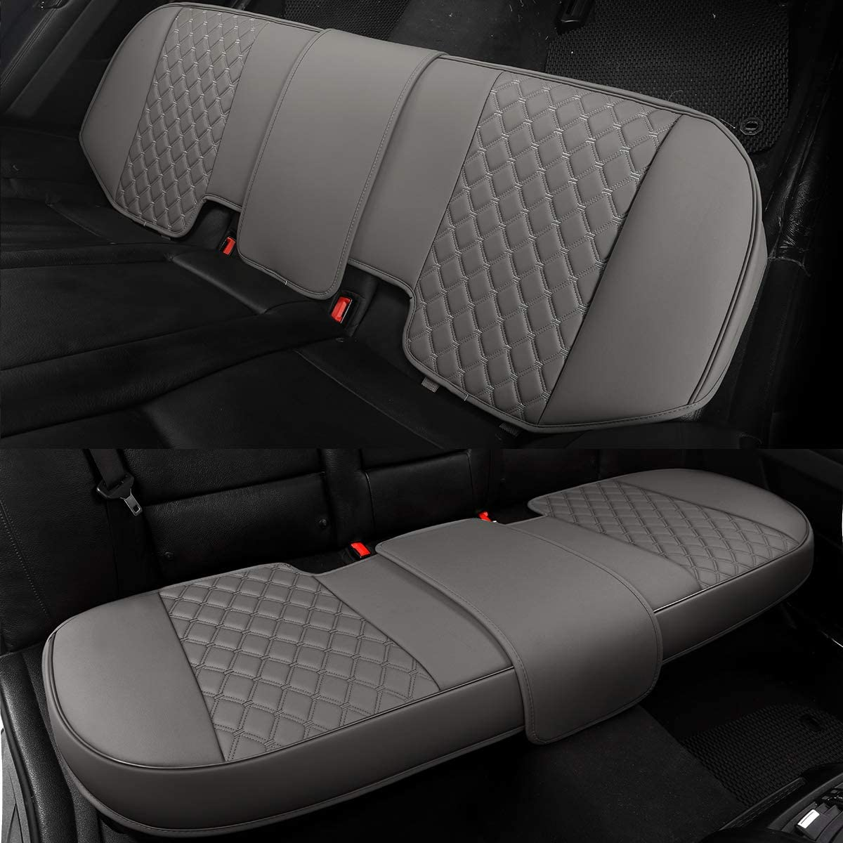 49-55 Back Bench Seat Protector Fits 90/% Standard Two-seat Rear Row Gray Black Panther Luxury PU Leather Rear Car Seat Cover Adjustable Length for Seat Bottom Only Triangle Quilted Design