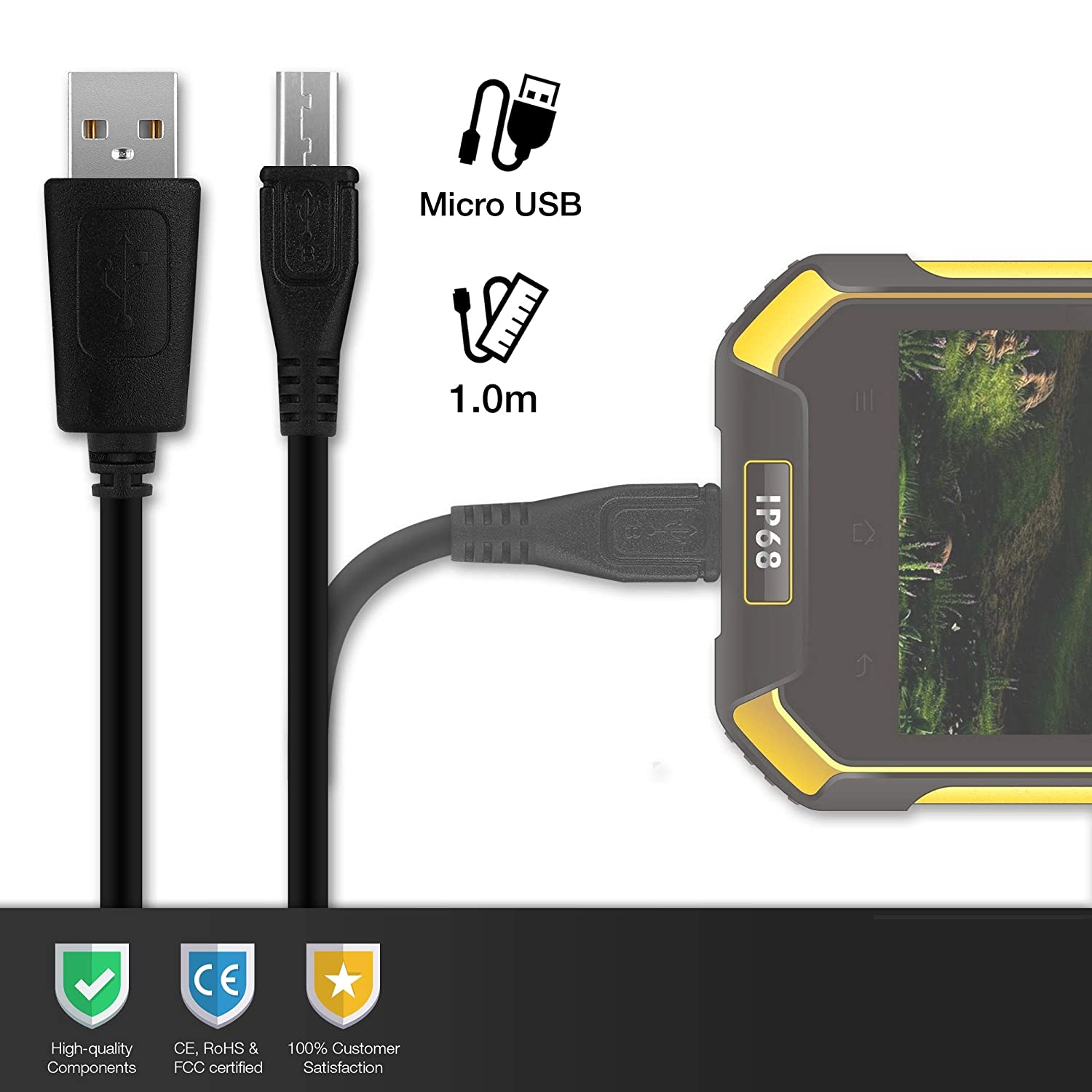 CELLONIC® Cable USB dato (1m 1A) Compatible con Blackview BV6000s / BV6000 / BV5800 (Pro) / BV5000 / BV4000 (Pro) (Micro USB a USB A (Standard USB)) ...