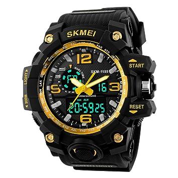 Hombres LED Digital cuarzo reloj Dual tiempo día alarma luz resistencia al agua reloj de pulsera: Amazon.es: Electrónica