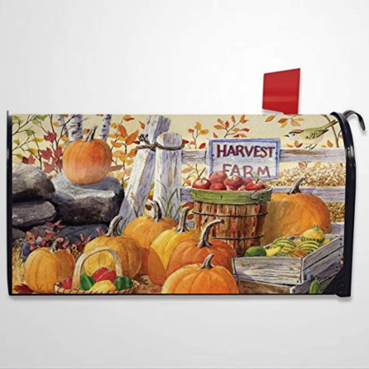 BYRON HOYLE Harvest Farm Fall Pumpkins Apples Mailbox Covers Magnetic Mailbox Wraps Post Letter Box Cover Home Garden Yard Outdoor Decor
