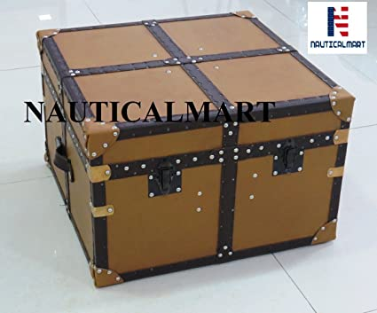 NAUTICALMART Faux Leather Trunk Designer Storage Chest