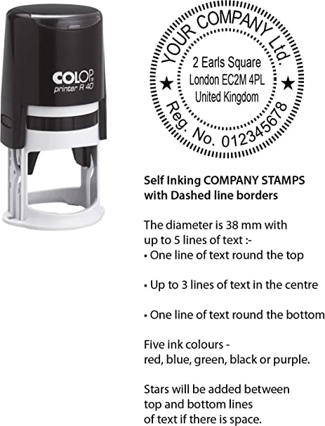 Company Stamp Custom Made Circular 40 Mm Self Inking Stamp Order Before Noon For Same Day Despatch Colop Printer R40