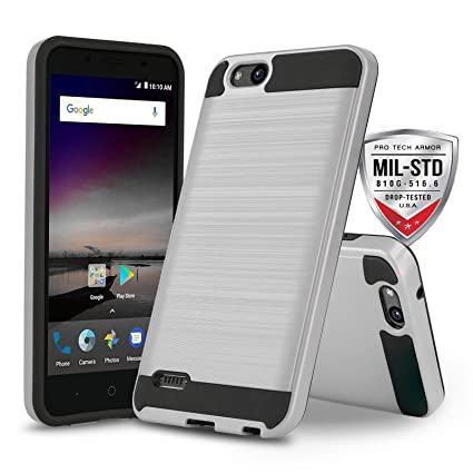 Phone Case for [ZTE ZFIVE G LTE (Z557BL) / ZTE ZFIVE C LTE (Z558VL)],  [Protech Series][Silver] Shockproof Impact Resistant Defender Cover  (Tracfone,