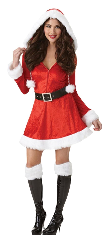 Karnevalsbud Damen Karnevals Komplett Kostüm Miss Santa Claus, Weihnachtsfrau, L, Rot