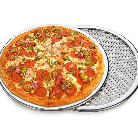 Sue Supply Pizza-Mesh reutilizable, pantalla de aluminio sin costuras, pizza antiadherente,