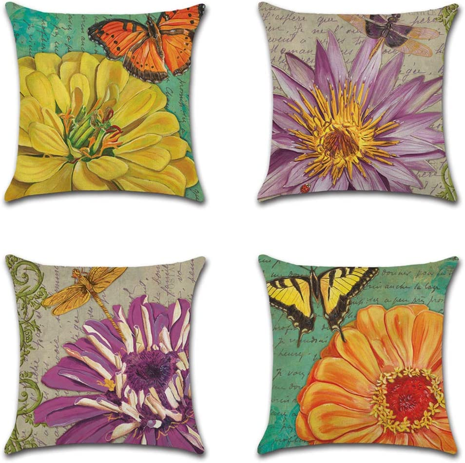 Artscope Set of 4 Decorative Throw Pillow Covers 18x18 Inches, Vintage Chrysanthemums Pattern Waterproof Cushion Covers, Perfect to Outdoor Patio Garden Living Room Sofa Farmhouse Decor