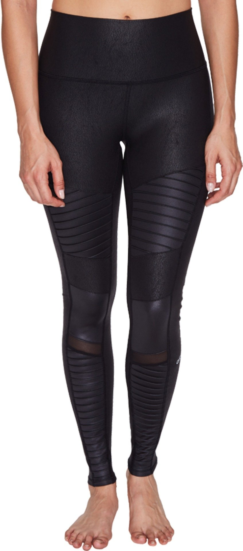 ALO Women's High-Waist Moto Leggings Black Performance Leather/Black Glossy Pants