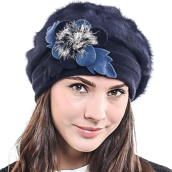 HISSHE Damen Barette K/ünstler Wolle Baskenm/ütze Angora Beanie Winter M/ütze BR022