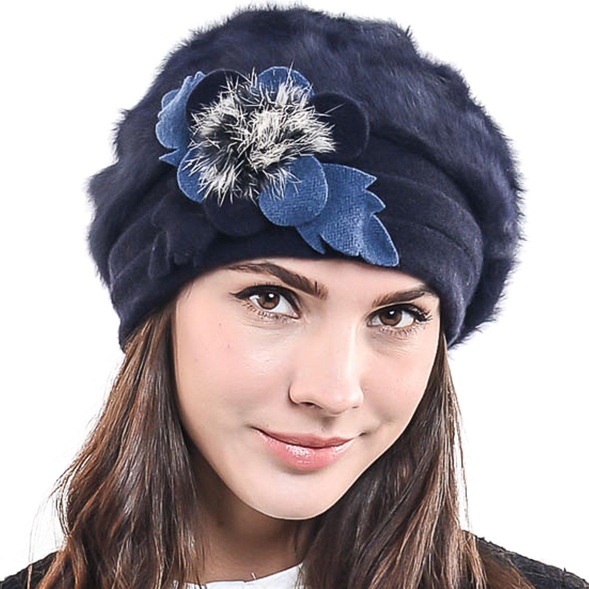 F&N STORY Women's Elegant Flower Wool Cloche Bucket Ridgy Bowler Hat 09-co20
