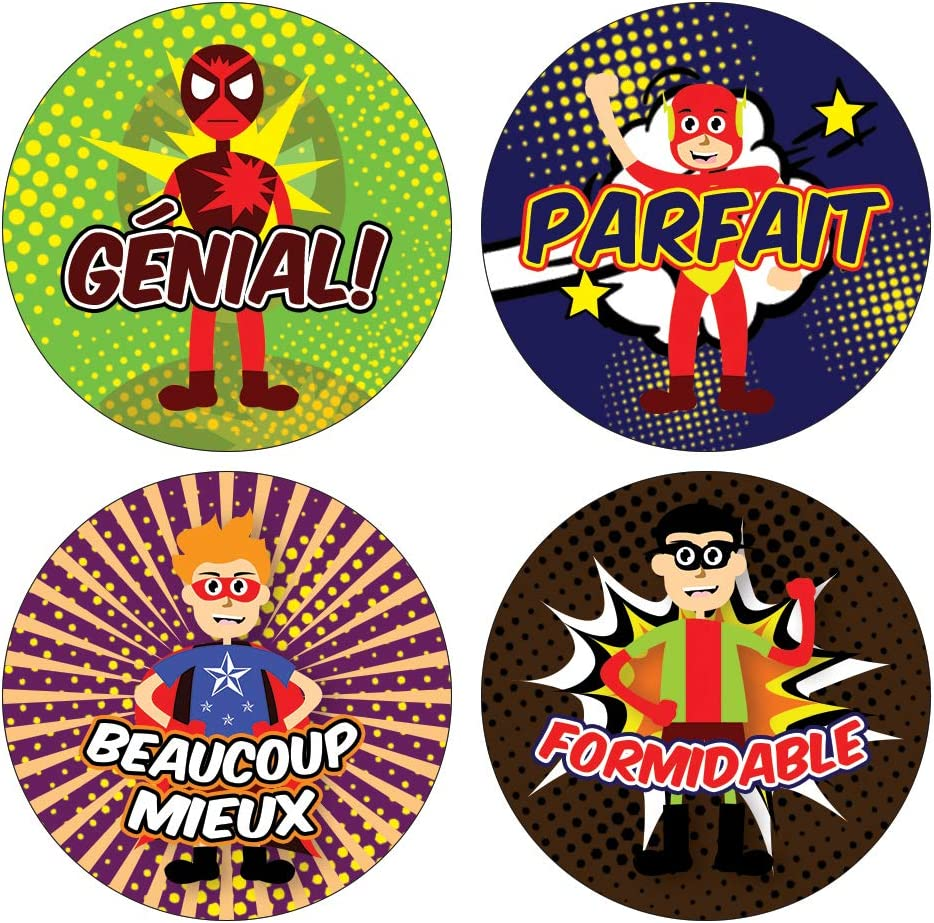 Decal D/écor Fun Unique Giveaways Awesome Stocking Stuffers Gifts for Boys Girls Creanoso Kids Animals French Reward Praise Stickers - School Reward Incentives 20-Sheets Teens Kids