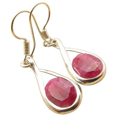f292da47f Amazon.com: Original RUBY Semi-Precious Stone July Birthstone Modern  Earrings 1.7