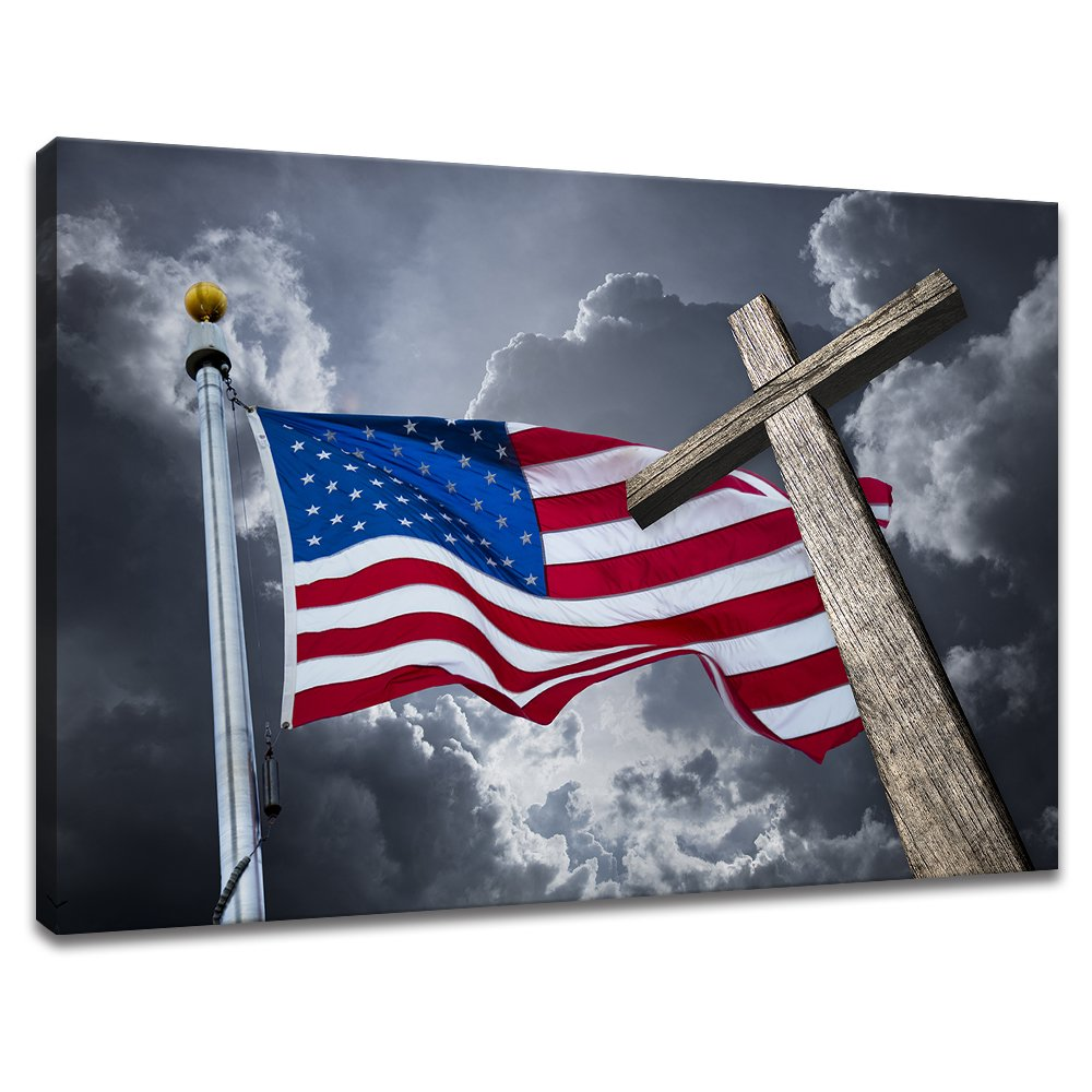 KLVOS - The American Flag Canvas Wall Art USA Flag and Christian Cross Under Cloudy Sky Wall Painting Picture Print On Canvas Stretched and Framed for Living Room 28''x40'' by KLVOS