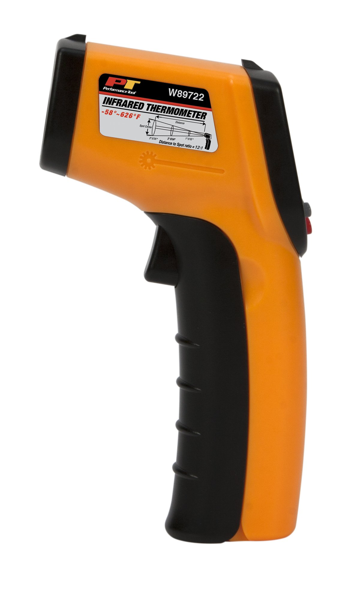 Performance Tool W89722 Non-Contact Digital Laser Infrared Thermometer, Orange and Black, NULL