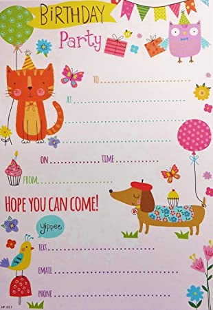 pack of 20 children s party invites owl cat dog bunting balloon
