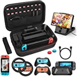 HEYSTOP Case & Accessories Kit for Nintendo Switch, 12 in 1 Switch Carry Case, PlayStand, Joycon Steering Wheel, Joycon Grip,