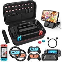 Case Accessories Kit Compatible with Nintendo Switch 12 in 1, Switch Carry Case, TPU Protective Case Cover, PlayStand…