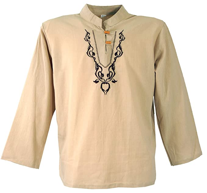 GURU-SHOP, Camisa Yoga Bordada, Camisa Goa, Algodón, Camisas ...