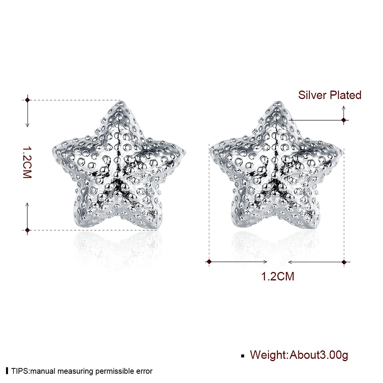 Gnzoe Silver Plated Women Stud Earrings Silver Scrub Star